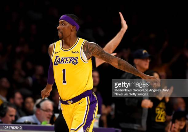 The Lakers' Kentavious CaldwellPope reacts after hitting a 3point shot during their game against the Pacers at the Staples Center in Los Angeles...