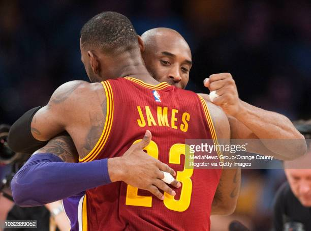 The Lakers' Kobe Bryant greets the Cavaliers' Lebron James before the start of their game at Staples Center Thursday night INFO lakers0311kjs Photo...