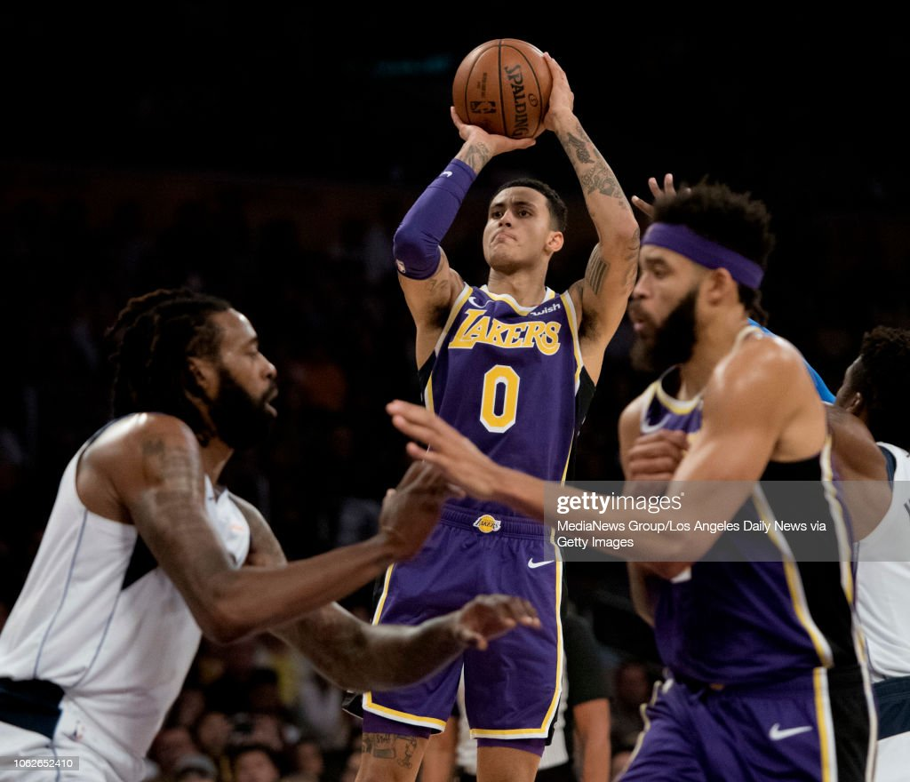 The Lakers Kyle Kuzma Shoots During Their Game Against The
