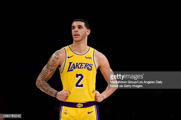 The Lakers' Lonzo Ball during their game against the Bulls at the Staples Center in Los Angeles Tuesday Jan 15 2019 The Lakers defeated the Bulls...