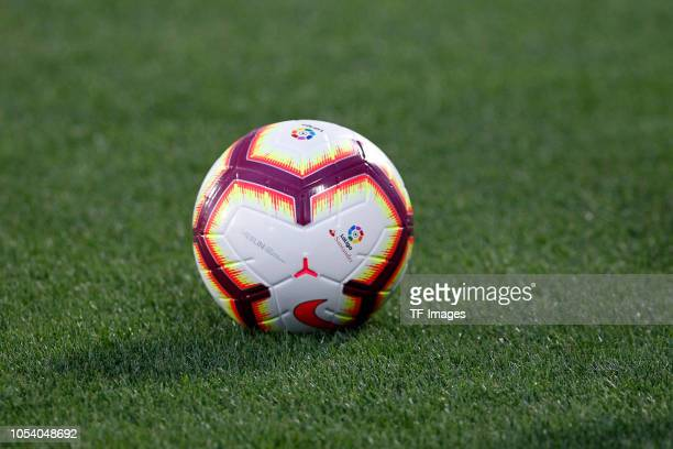 The LaLiga ball is seen during the La Liga match between CD Leganes and FC Barcelona at Municipal de Butarque on September 26 2018 in Leganes Spain