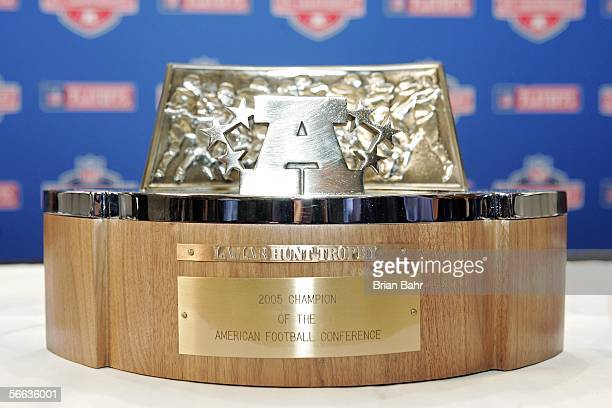 The Lamar Hunt Trophy stands on display at a press conference for the Denver Broncos two days before the AFC Championship against the Pittsburgh...