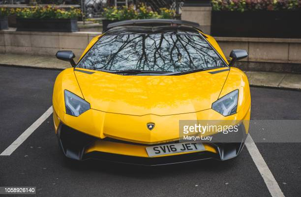The Lamborghini Aventador outside the Dorchester Hotel in London England The owner popular on social media owns various cars which usually carry the...