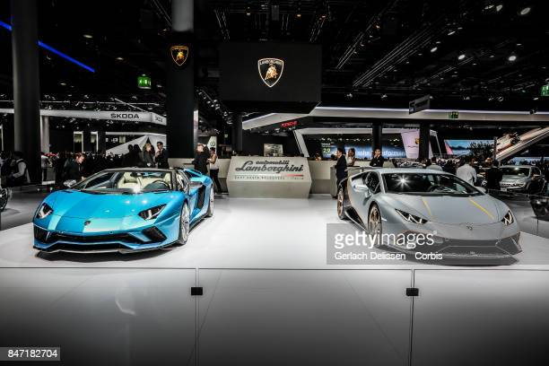 The Lamborghini Aventador S Roadster and Lamborghini Huracan Performante on display at the 2017 Frankfurt Auto Show 'Internationale Automobil...