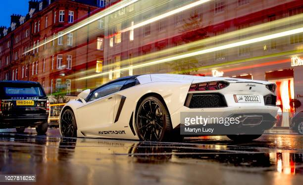 The Lamborghini Aventador, seen on Sloane Street in Knightsbridge, London. This car was one of a whole host of supercars flown over from the middle...