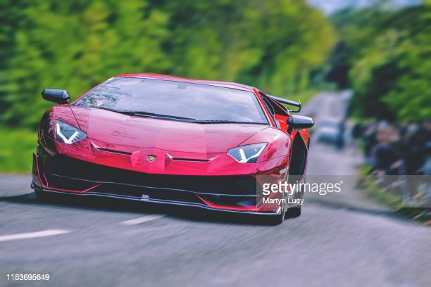 The Lamborghini Aventador SVJ leaving the Sharnbrook Hotels Charity event '30k in a day' in Bedfordshire. Unveiled at the 2018 Pebble Beach Concours...