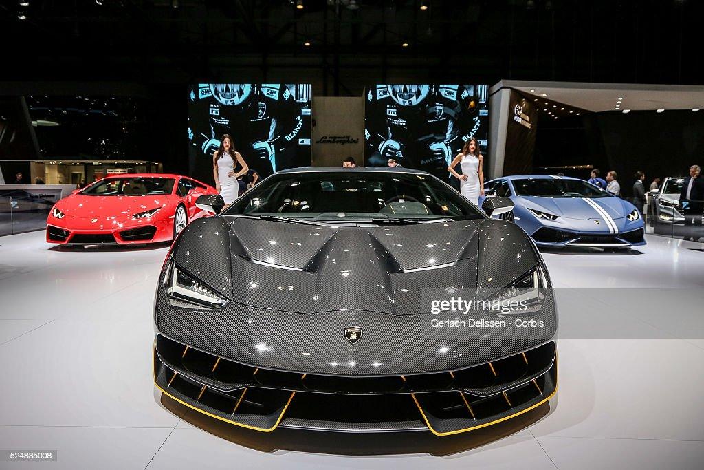 The Lamborghini Centenario LP770-4 on display at the 86th Geneva International Motorshow at Palexpo in Switzerland, March 2, 2016.