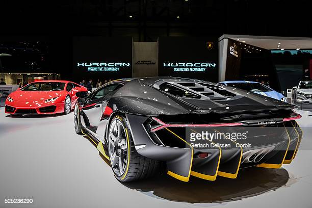 The Lamborghini Centenario LP7704 on display at the 86th Geneva International Motorshow at Palexpo in Switzerland March 2 2016