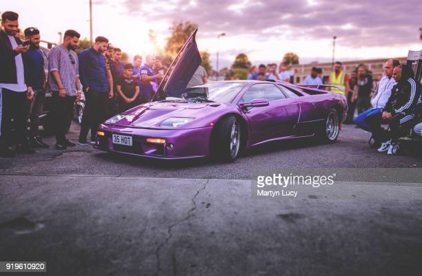 The Lamborghini Diablo SV owned by Danny Lambo is presented during the 'Fast and Furious Super Cars' event at Ace Cafe on August 13 2017 in London...