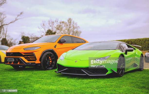 The Lamborghini Huracan and Urus seen at the Sharnbrook Hotel on March 21,2021 in Bedfordshire,England. The Sharnbrook Hotel hosted a private car...