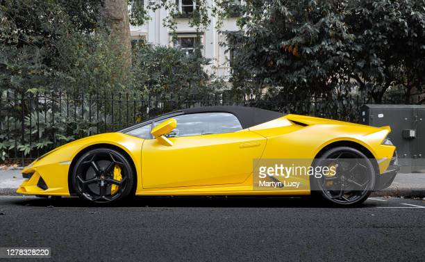 The Lamborghini Huracan Evo Spyder seen in Knightsbridge, London. The Evo is the newest Huracan model to be built, with later models released as a...