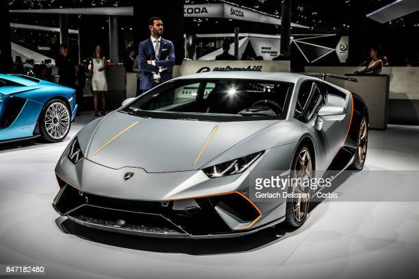 The Lamborghini Huracan Performante on display at the 2017 Frankfurt Auto Show 'Internationale Automobil Ausstellung' on September 13 2017 in...