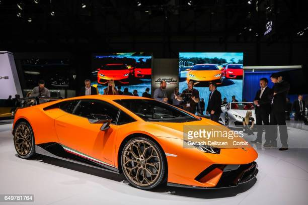 The Lamborghini Huracan Performante on display during the second press day of the Geneva Motor Show 2017 at the Geneva Palexpo on March 8 2017 in...