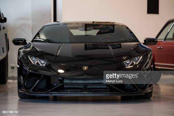 The Lamborghini Huracan Performante seen for sale at Joe Macari Performance Cars in Wandsworth London Painted in a special order paint Nero Helene...