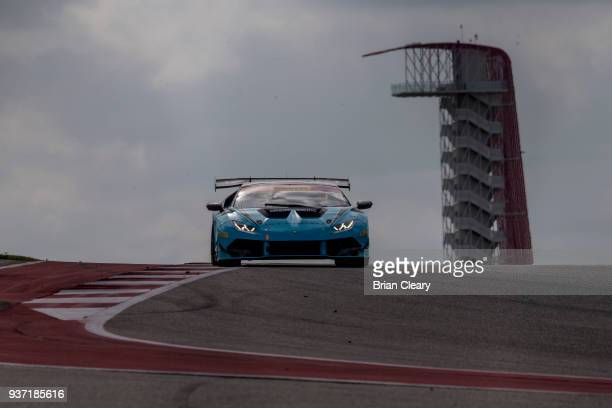 The Lamborghini Huracan Super Trofeo of Ryan Hardwick and Davide Amduzzi of Italy races on the track during practice for the Pirelly World Challenge...