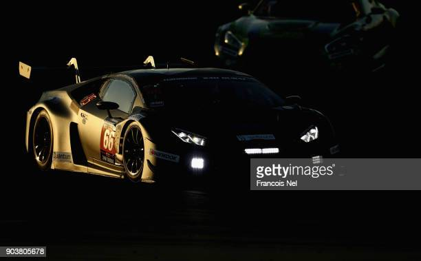 The Lamborghini Huracen GT3 drives during qualifying for the Hankook 24 Hours Dubai Race in the International Endurance Series at Dubai Autodrome on...