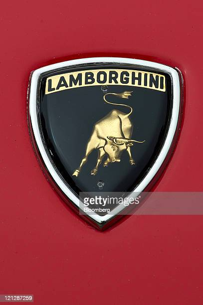 The Lamborghini logo is seen on a 1968 Miura P400 sports car displayed at the CarmelByTheSea Concours on the Avenues in Carmel California US on...