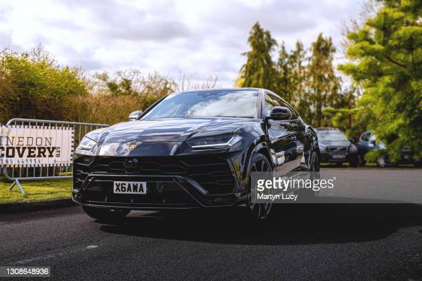 The Lamborghini Urus seen at the Sharnbrook Hotel on March 21,2021 in Bedfordshire,England. The Sharnbrook Hotel hosted a private car show to enable...