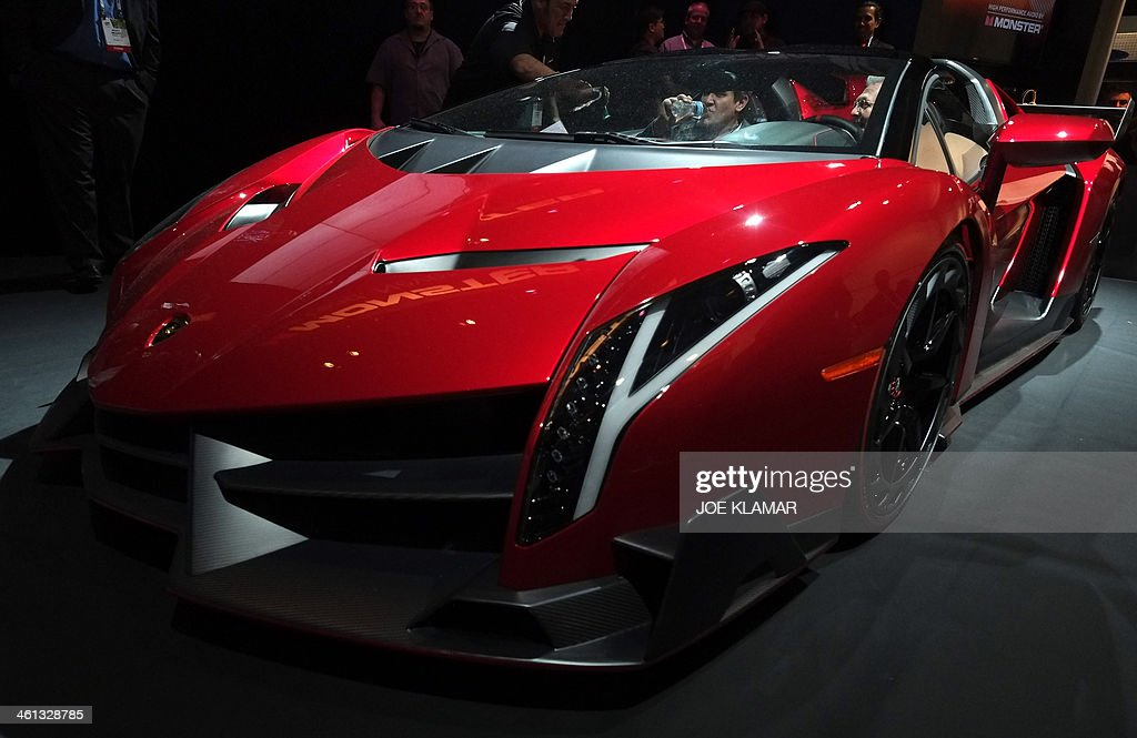 The Lamborghini Veneno Roadster Equipped And Promoted By Monster Audio Is  Displayed During The 2014 International