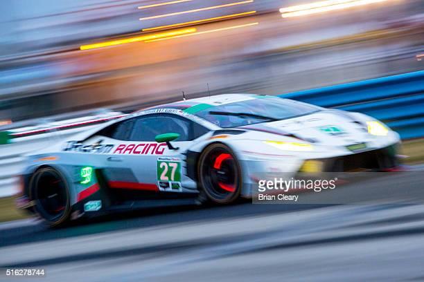 The Lamborghinni Huracan of Paolo Ruberti Fabio Babini Cedric Sbirrazzuoli and Luca Persiani races on the track during night practice for the 12...