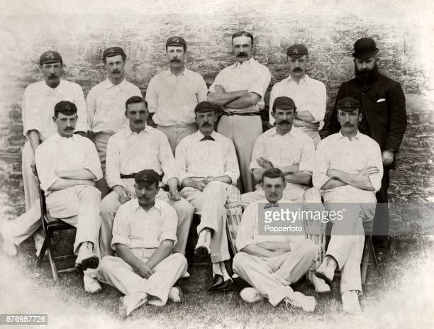 The Lancashire County Cricket Team circa 1893 Left to right back row Frank Ward Alfred Tinsley Arthur Smith Frank Sugg William Oakley and Lunt middle...