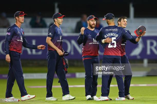 The Lancashire players celebrate their victory over Middlesex during the Royal London One Day Cup Quarter Final match between Middlesex and...