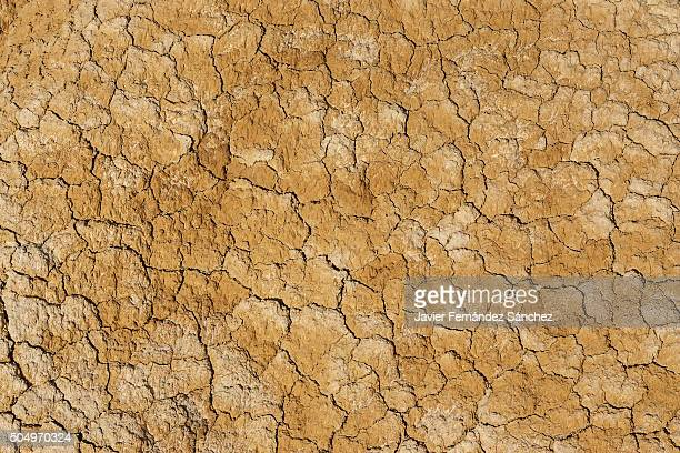 The land cracked by drought the Bardenas in Navarra, Spain.