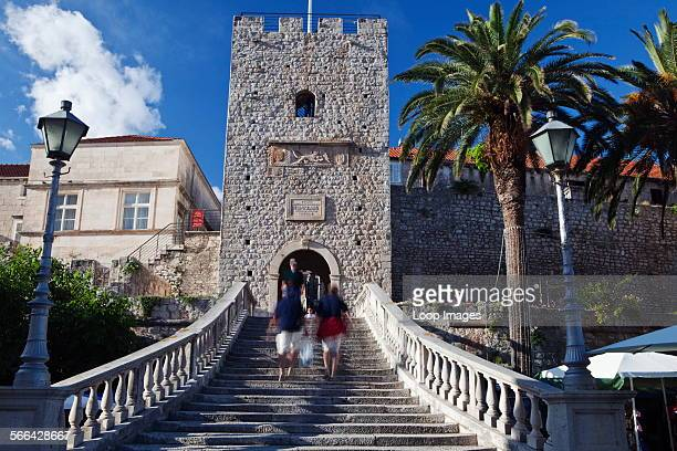 The Land Gate and Revelin Tower entrance to the old town at Korcula