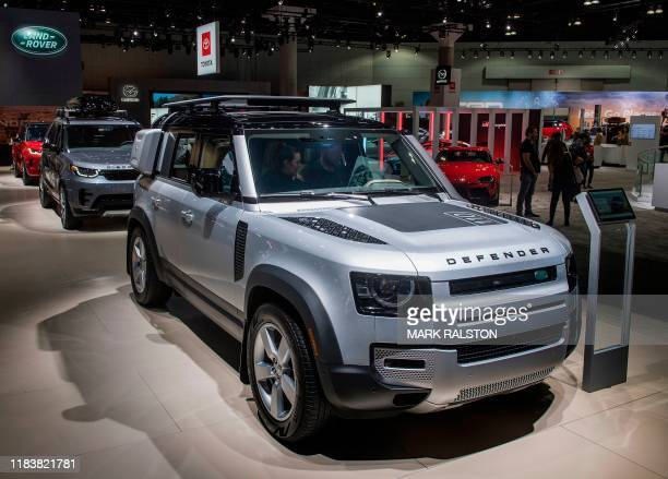The Land Rover Defender 110 car on display during the AutoMobility LA event at the 2019 Los Angeles Auto Show in Los Angeles California on November...