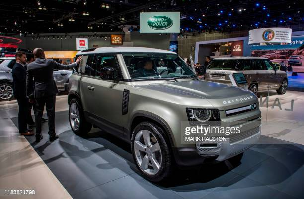 The Land Rover Defender 110 car on display during the AutoMobility LA event, at the 2019 Los Angeles Auto Show in Los Angeles, California on November...