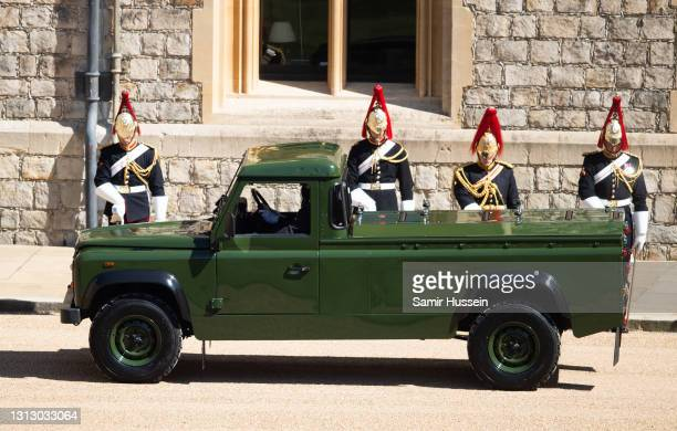 The Land Rover Defender hearse arrives at Windsor Castle ahead of the funeral of Prince Philip, Duke of Edinburgh on April 17, 2021 in Windsor,...