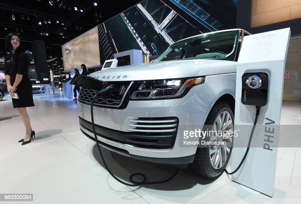The Land Rover plugin hybrid Range Rover Sport is displayed during the auto trade show AutoMobility LA at the Los Angeles Convention Center November...