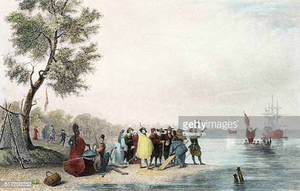 The landing at Jamestown A colored engraving