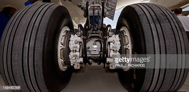 The landing gear and hydraulic/electric brake package is seen on the new Boeing 787 Dreamliner built for Air India after it was rolled off the...