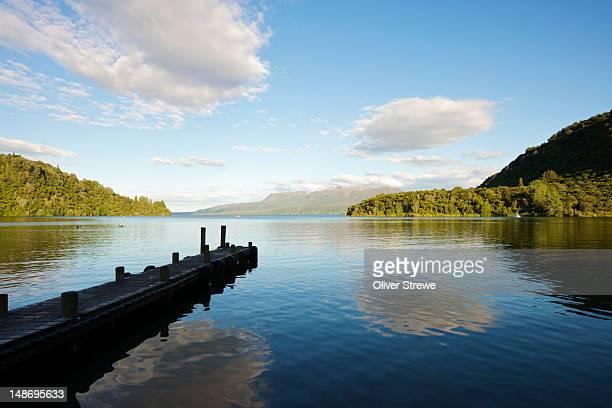 the landing, lake tarawera. - rotorua stock pictures, royalty-free photos & images
