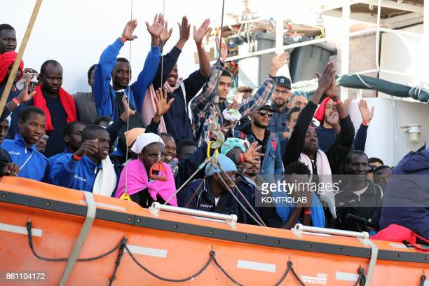 The landing of 600 migrants to the Port of Palermo by Aquarius ship mostly children In the photo some migrants aboard the Aquarius