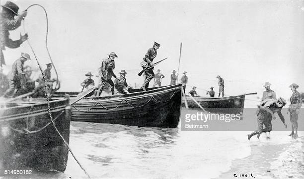 The landing of Australian troops on the Gallipoli Peninsula during their attempt along with the British to try and capture the Dardanelles Straights...