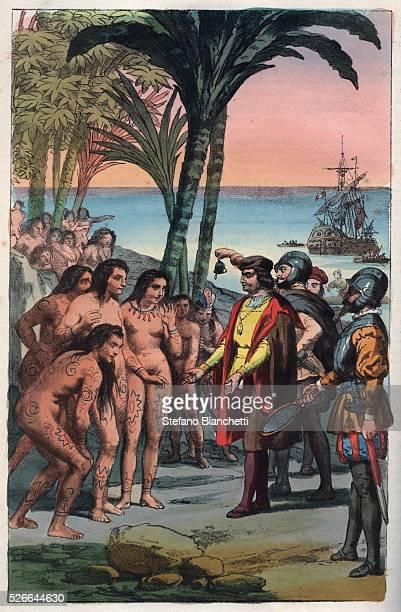 The landing of Christopher Columbus in the New World 12 October 1492 engraving from 'Usi e Costumi di Tutti i Popoli dell'Universo Ovvero Storia del...