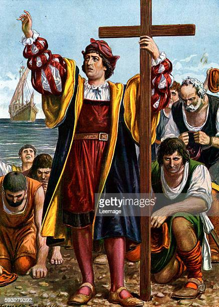 The landing of Christopher Columbus in the New World 12 October 1492 Illustration by Tancredi Scarpelli from Storia d'Italia by Paolo Giudici 1930...