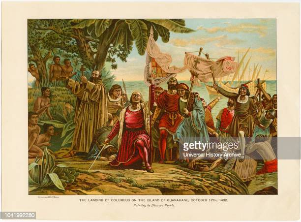 The Landing of Columbus on the Island of Guanahane October 12 Chromolithograph from a Painting by Dioscoro Puebla 1892