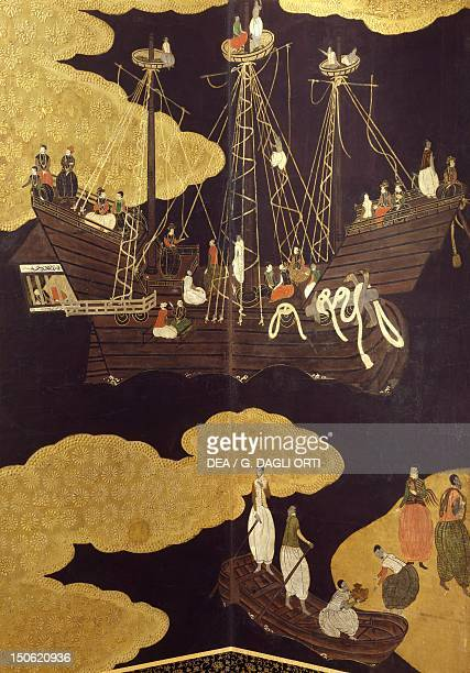 The landing of goods from the Portuguese ships detail from The Portuguese arriving in Japan paper screen Japan 17th century