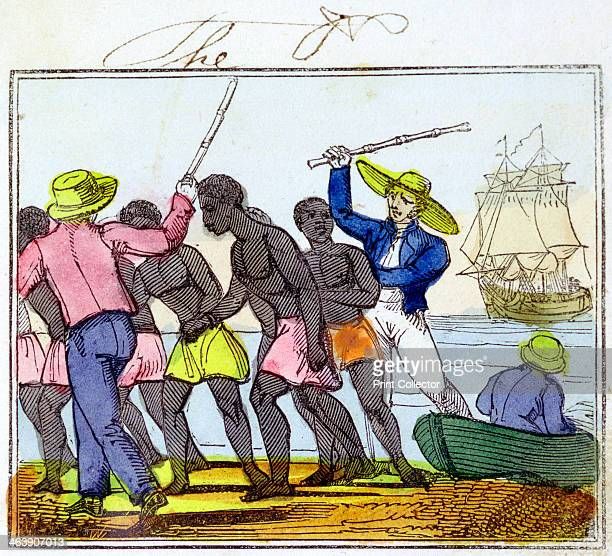 The Landing of Negroes' 1826 Slaves who have survived the dreadful voyage from Africa being unloaded from slave ship at their destination From The...