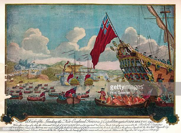 The landing of troops from New England on the island of Cape Breton to attack Louisbourg 1747 After J Stevens From The Connoisseur Volume XCII edited...