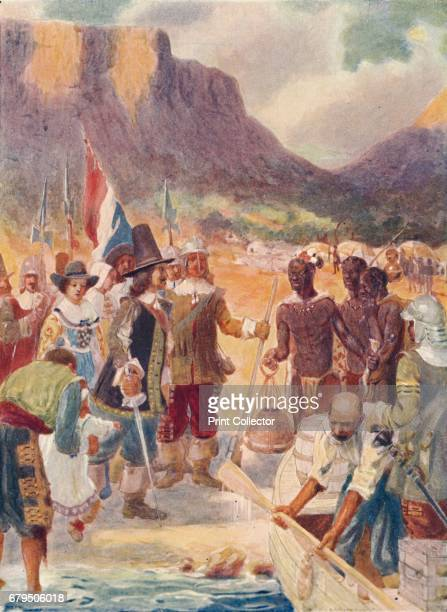 The Landing of Van Riebeck' 1909 In 1651 Van Riebeck volunteered to undertake the command of the initial Dutch settlement in the future South Africa...