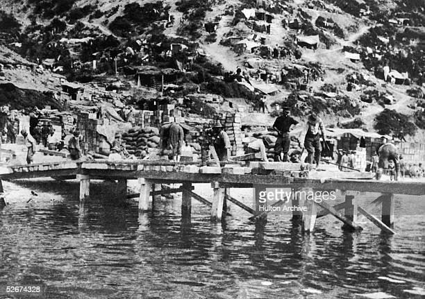The landing pier constructed by the Allies at Gallipoli during World War I 1915