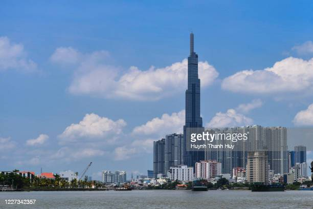 the landmark 81 building by daytime - saigon river stock pictures, royalty-free photos & images