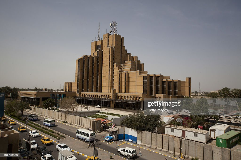 The landmark Babylon Hotel, March 18, 2013 in Baghdad, Iraq. Ten years after the regime of Saddam Hussein was toppled from power, Baghdad continues to show the scars of the war. In vast areas, infrastructure is fractured and basic services are lacking, however, some areas of the capital are showing promising signs of recovery.