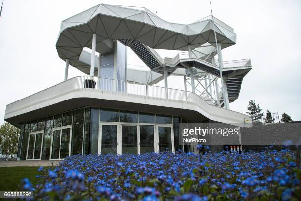 The landmark 'Wolkenhain' is pictured during a press preview of the IGA 2017 in Berlin Germany on April 7 2017 Last arrangements are being done for...