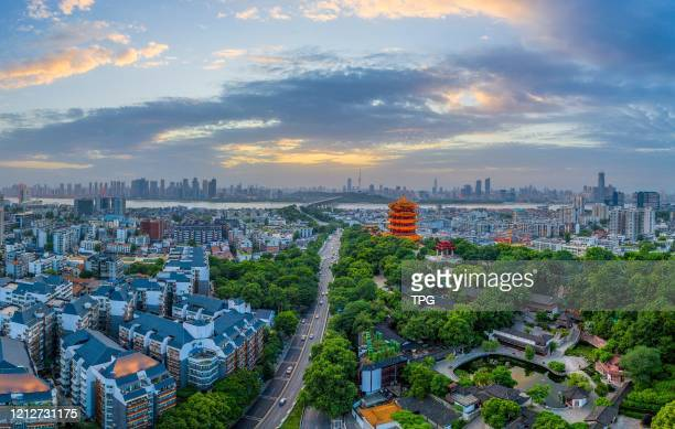 The landmark Yellow Crane Tower in the sunset on 11th May, 2020 in Wuhan,Hubei,China.