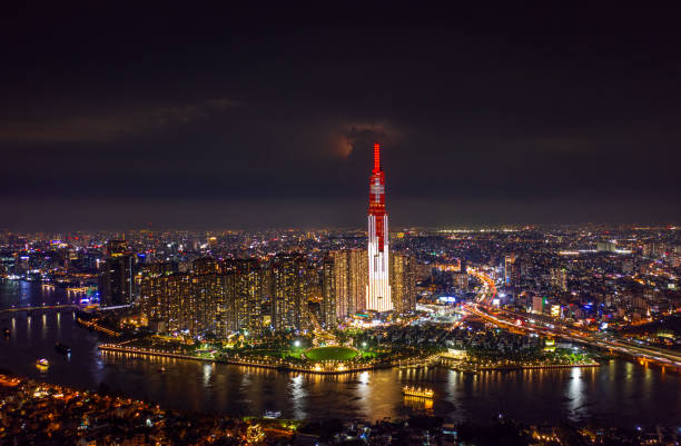 The Landmark81 with National Flag of Switzerland (Swiss Flag) on the top, July 27-2020 from Vietnam, Ho Chi Minh City - Aerial view.